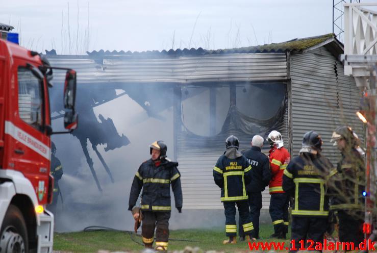 Brand i industribygning.