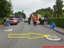 Scooter ramte den blå skilt. Niels Bohrs Vej i Vejle. 29/06-2015. Kl. 08:17.