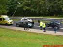 En personbil ramte en lygtepæl. Grønlandsvej i Vejle. 08/10-2015. KL. 14:38.