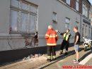 Lastbilen ramte vægen. Skovgade i Vejle. 08/09-2016. Kl. 08:50.