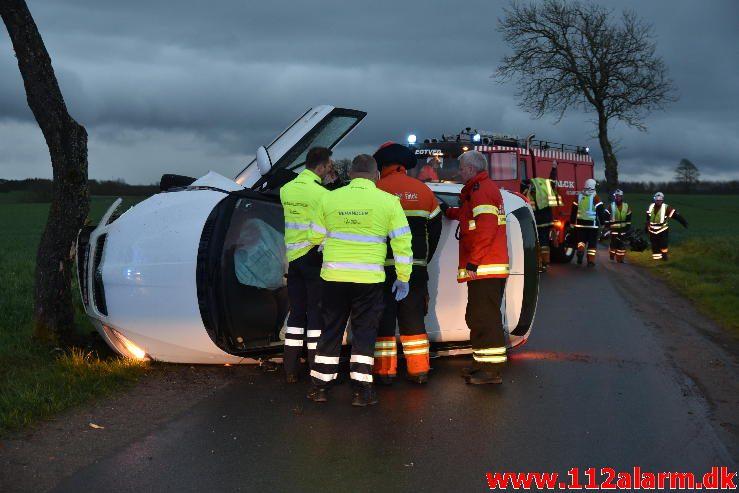 Mindre trafikuheld. Høllundvej ved Jerlev. 17/04-2017. Kl. 20:21.