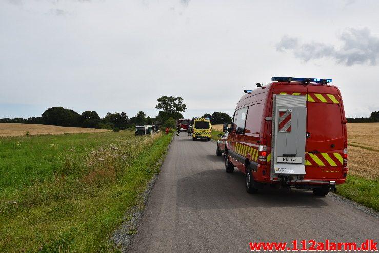 FUH fastklemt/Lastbil/Bus. Brandtlundvej i Skærup. 01/08-2017. Kl. 12:59.