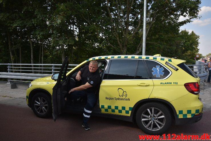 FUH med fastklemt . Skovgade i Jelling. 29/08-2017. Kl. 14:23.