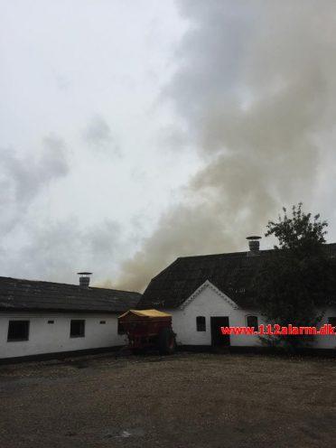 Gårdbrand med Dyr. Egtvedvej ved Bølling. 09/09-2017. Kl. 10:06.