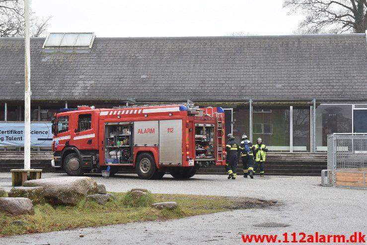 Mindre brand på Midtbyskolen. Strandgade 2 i Vejle. 11/01-2018. Kl. 13:11.