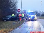 Bil fløj over vejen. Rundkørsel ved DTC i Vejle. 20/01-2018. Kl. 16:26.