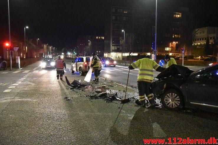 Forurening efter FUH. Horsensvej/Skovgade i Vejle. 3/02-2018. Kl. 18:53.