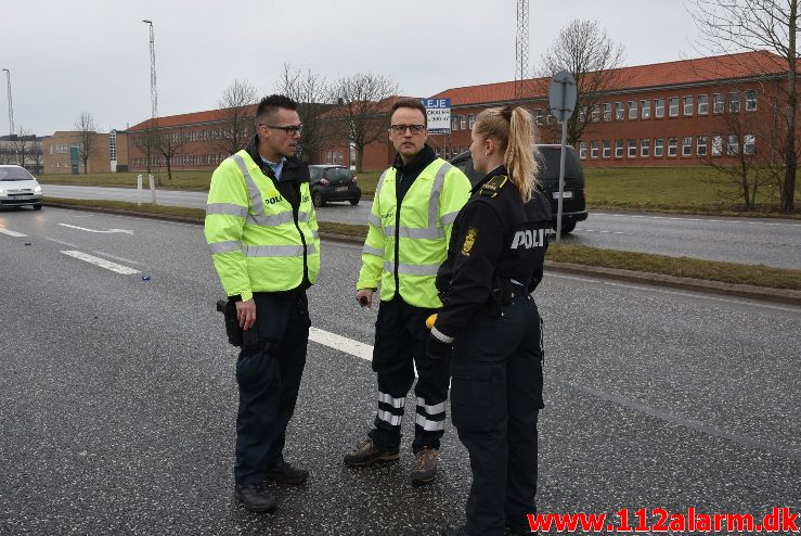 Voldsomt uheld. Fredericiavej i Vejle. 24/03-2018. Kl. 11:03.
