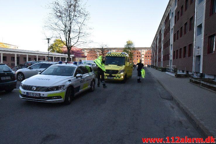Brand i Etageejendom. Skolegade 52 i Vejle. 06/06-2018. Kl. 19:32.