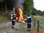 Ild i landbrugsredskab. Hopballevej ved Hopballe Mølle. 30/07-2018. KL. 18:58.