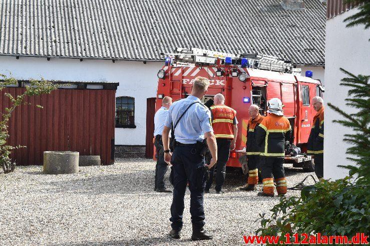 Ild i vaskemaskinen. Buen i Gadbjerg. 22/08-2018. Kl. 11:14.