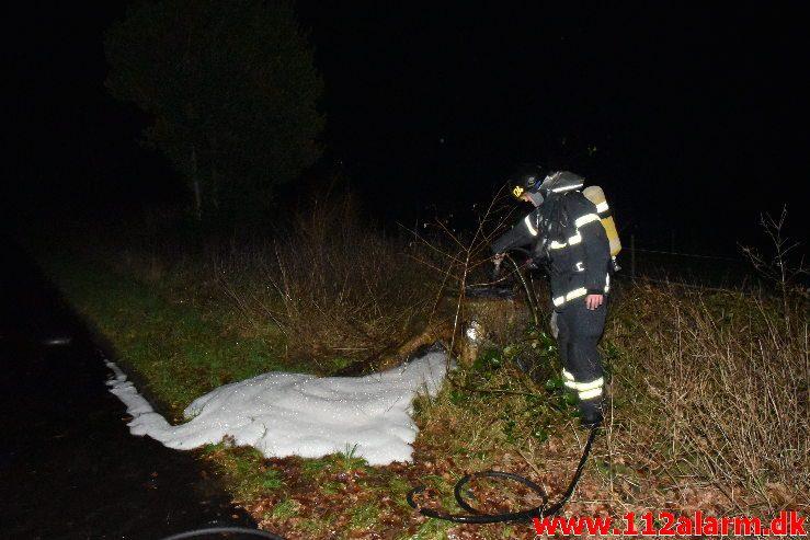 Mindre naturbrand. Hørvangen i Vejle Ø. 31/12-2018. Kl. 21:25.