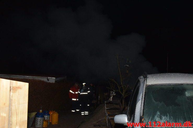 Brand i Kolonihavehus. Mølholmsdalen i Vejle. 18/01-2019. Kl. 17:00.