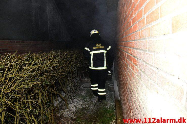 Brand i Villa. Løget Høj i Vejle. 19/01-2019. KL. 20:40.