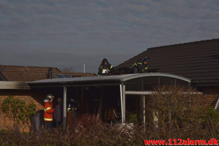 Brand i Villa. Snarager i Vejle ø. 20/01-2019. Kl. 12:30.