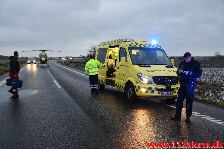 Alvorlig trafikulykke. Ammitsbølvej lige syd for Ødsted. 28/01-2019. Kl. 16:06.