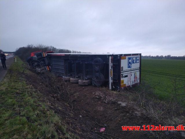Fuh med fastklemt. E45 i nordgående spor mellem Kolding og Skærup. 28/02-2019. KL. 06:25.