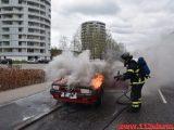 Alfa Romeo gik op i flammer. Vester Engvej i Vejle. 10/04-2019. Kl. 14:33.