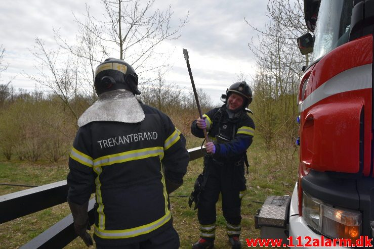 Skovbrand . Højgårdsvej ved Fløjstrup. 14/04-2019. Kl. 17:00.
