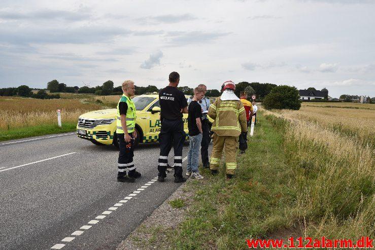 FUH med fastklemt. Skanderborgvej ved Lindved. 18/07-2019. Kl. 17:31.