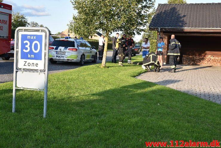 Røg i køkkenet. Hindbærhaven i Vejle Ø. 21/08-2019. Kl. 19:04.