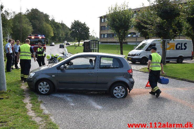 En edderkop var skyld i uheld. Vindinggård Ringvej i Vejle. 26/08-2019. KL. 10:45.