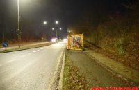 Lastbil tabte en stor krandel ned over cykelstien/fortovet. Grønlandsvej i Vejle. 09/12-2019. Kl 17:13.