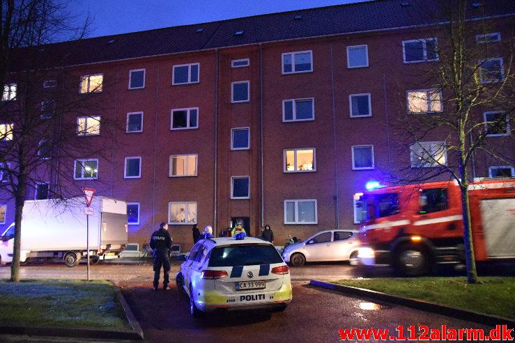 Ild i Etageejendom. Boulevarden 12 i Vejle. 15/03-2020. Kl. 18:46.