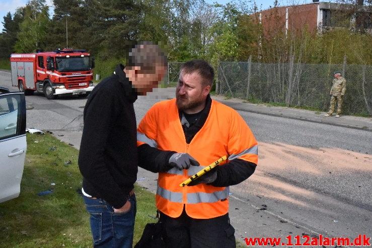 Mindre Forurening efter FUH. Niels Finsensvej i Vejle. 06/05-2020. Kl. 16:16.