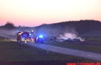 Naturbrand / Halmstak. Firhøjevej ved Vandel. 27/03-2020. Kl. 18:52.