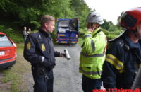 Ild i skraldevognen. Haveforeningen Mølholmsdalen i Vejle. 05/08-2020. Kl. 08:10.