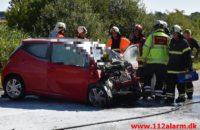 En person dræbt ved frontalt sammenstød. Motortrafikvejen efter Børkop. 13/08-2020. Kl. 10:51.