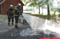 Et efterladt bål inde i Skoven. Søndermarksvej i Vejle. 15/08-2020. KL. 17:22.