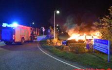 Bilen udbrændte totalt. Grønlandsvej i Vejle. 27/09-2020. Kl. 22:53.