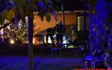 Ild ved siden Spabad. Kildeparken i Bredballe. 03/10-2020. Kl. 20:33.
