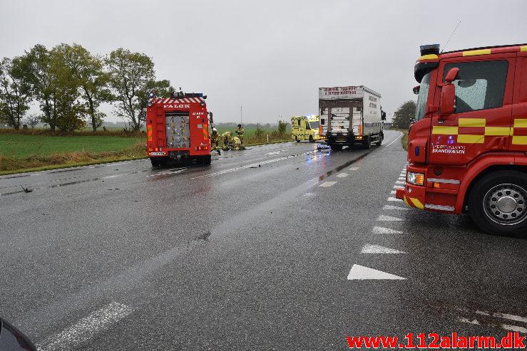 Kørte ud foran lastbilen. Viborg Hovedvej lige ud for Tørring. 21/10-2020. Kl. 13:31.