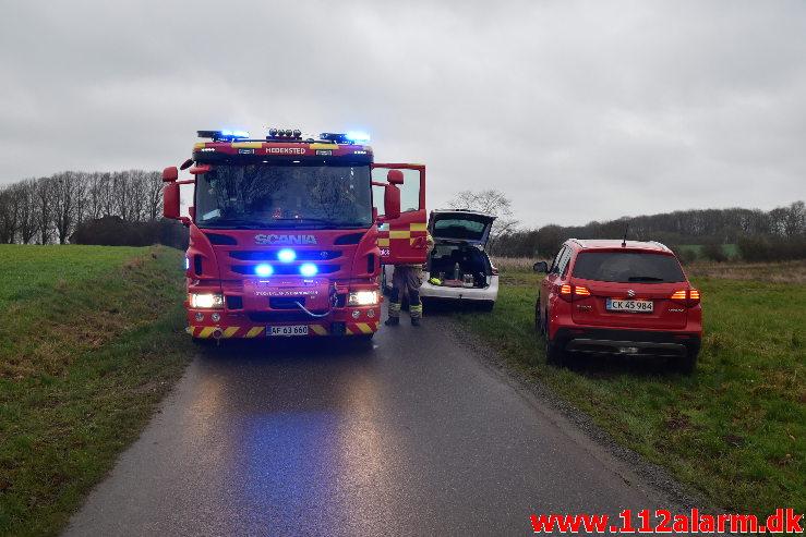 En Slamsuger væltet. Bavnbjergvej i Vejle. 07/12-2020. Kl. 08:00.