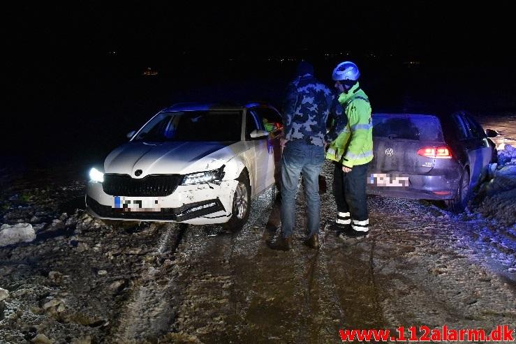 2 biler kørt sammen. Højenvej ved Nr. Vilstrup. 07/02-2021. Kl. 18:50.