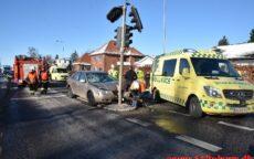 Færdselsuheld med fastklemte. Fredericiavej i Vejle. 12/02-2021. Kl. 14:03.