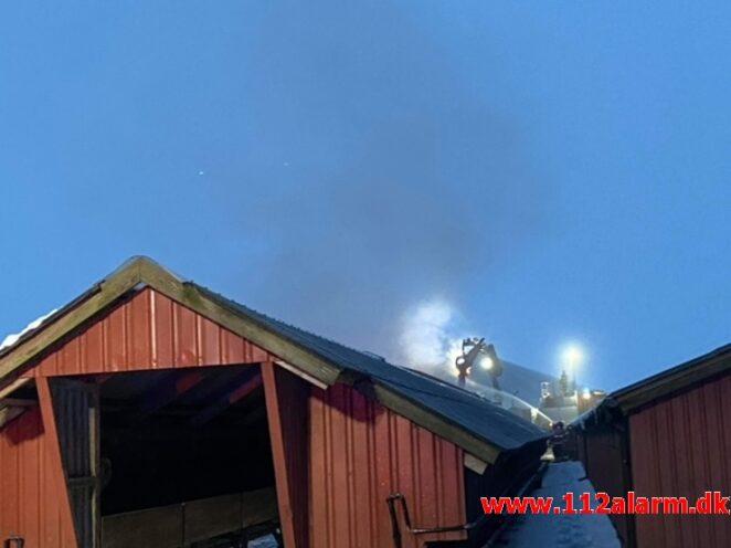 Gårdbrand / Minkhal. Vestermarksvej i Løsning. 16/02-2021. Kl. 13:36.