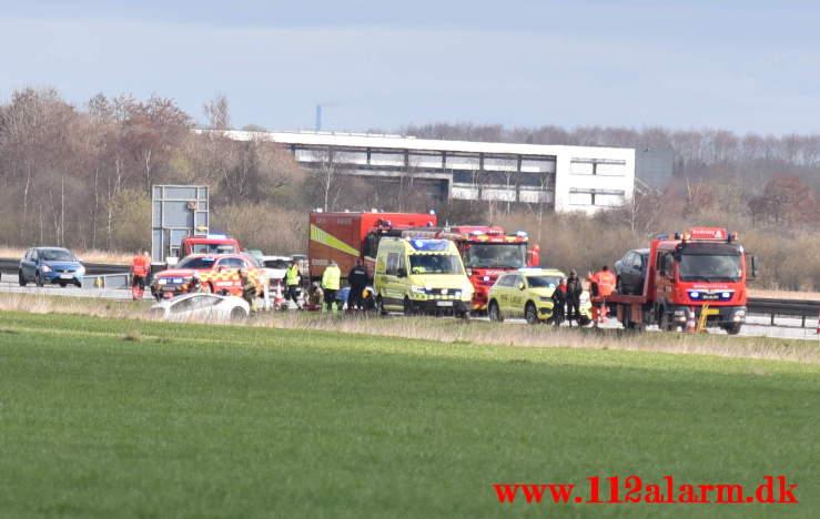 Uheld i påsketrafikken. E45 ved Hedensted 123 KM. 01/04-2021. Kl. 11:35.