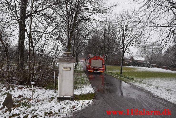 Meldingen gik på Gårdbrand. Jerlevgårdvej ved Jerlev. 11/04-2021. Kl. 11:04.