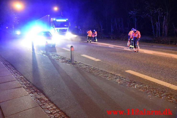 Ramte 2 skilte og forsatte. Fredericiavej i Mølholm. 14/04-2021. KL. 22:05.