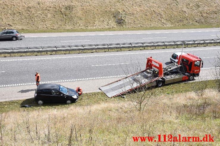 Tavlevognen påkørt igen. Midtjyske Motorvej.14/04-2021. Kl. 11:47.