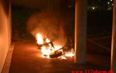 Afbrænding af en scooter. Løget Høj her i Vejle. 29/06-2021. KL. 23:40.