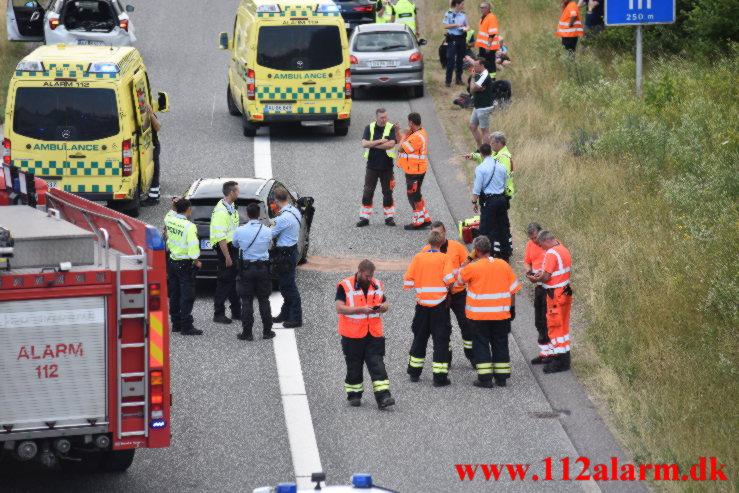 FUH med fastklemt på rampen. Motorvejen E45 ved Vejle. 12/07-2021. Kl. 15:54.