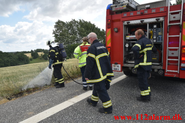 Mindre brand. Koldingvej ved Højen. 19/07-2021. Kl. 13:55.
