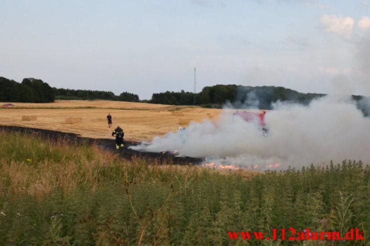 Ild i mark høstet. Herredsvej i Vejle. 24/07-2021. Kl. 20:12.