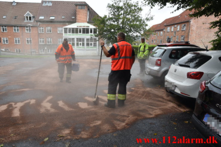 Ramte kantstenen. Teglgaardsvej i Vejle. 11/09-2021. KL. 10:30.