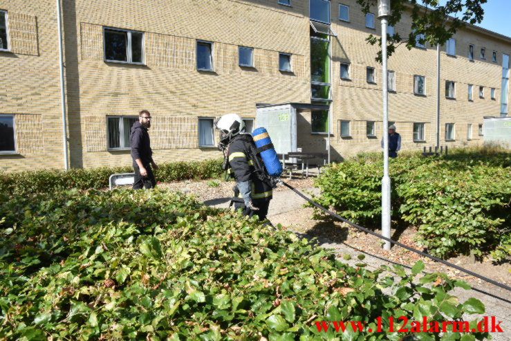 Handicappet dame i kørestol hjulpet ud i sidste øjeblik. Løget Høj 12c i Vejle. 03/09-2021. KL. 10:53.